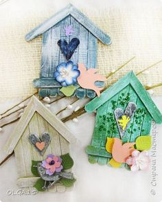 Kids Crafts, Home Crafts, Diy And Crafts, Craft Projects, Popsicle Stick Birdhouse, Diy Popsicle Stick Crafts, Popsicle Sticks, Decoration Originale, Spring Crafts