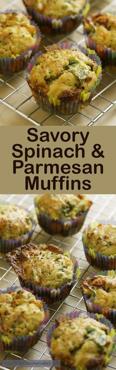 Savory Spinach & Parmesan Muffins - Great for an easy lunch on the go, perfect for a lunch bag, and wonderful for breakfast!