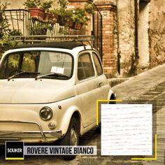 Alla scoperta dei colori, delle #texture e delle #tendenze del #design #madeinitaly che hanno fatto la storia: Rovere Vintage Bianco #Sciuker con la #Fiat500. Vintage, Design, Vintage Comics