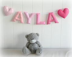 Personalized felt name banner custom made wall by LullabyMobiles
