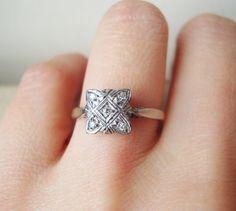 Square Art Deco Diamond Engagement
