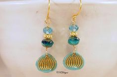 Opaque Turquoise Earrings Czech Beads Gold Vermeil by CKDesignsUS