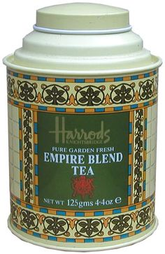 Harrods Empire Blend Tea tin ... cylinder shape with bands of arts and crafts tile motifs on green background, rising to cap lid, UK