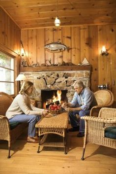 How to Make Your Home Look Like a Log Cabin....helpful ideas if you want low maintenance brick exterior but the warmth of the cabin interior.