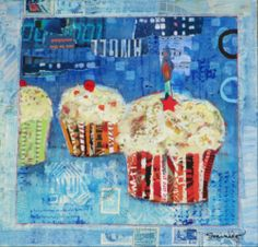 "Happy Birthday Cupcake, mixed media collage by Susan Minier. Original art 10 x 10"", $250 at www.susanminier.com"