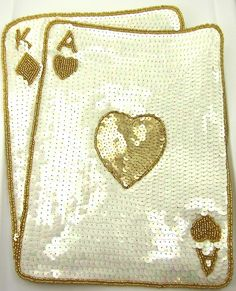 """Ace King Playing Card Large with Gold and China White Sequins and Beads 12"""" x 10"""""""