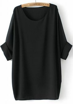 Black Plain Round Neck Bat Sleeve Chiffon T-Shirt