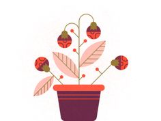 Plant designed by Kemal Sanli . Connect with them on Dribbble; the global community for designers and creative professionals. Illustration Blume, Science Illustration, Plant Illustration, Digital Illustration, Flower Illustrations, Plant Icon, Fleur Design, Orange Design, Plant Design