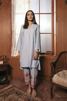 Casual Suits (Shirt + Trouser) – Ethnic by Outfitters Simple Pakistani Dresses, Pakistani Fashion Casual, Pakistani Dress Design, Pakistani Outfits, Dress Designs For Girls, Stylish Dress Designs, Stylish Dresses, Suit Fashion, Teen Fashion Outfits