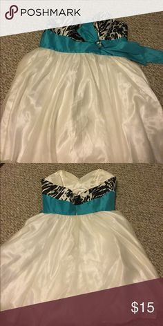 Prom dress Black and white print, with a teal band, white dress Hannah S Dresses Prom