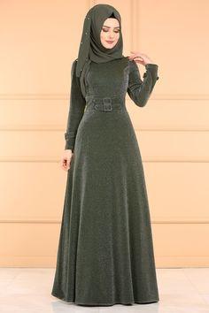 Modaselvim الفساتين Kemer Detay Simli Elbise 0531AL357 Haki