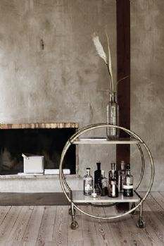 Round Brass and Marble Drinks Trolley - DELIVERY MID APRIL