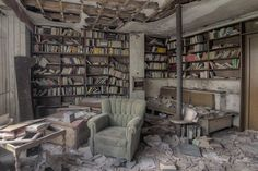 abandoned library in a doctors home in Germany. Photo by Provost Kenneth Photography