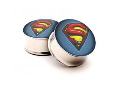 Superman Plugs-Superhero Ear gauges in size inch, inch, inch Ear Jewelry, Body Jewelry, Jewelry Accessories, Unique Jewelry, Ear Tunnels, Tunnels And Plugs, Fake Gauges, Gauges Plugs, Men's Piercings