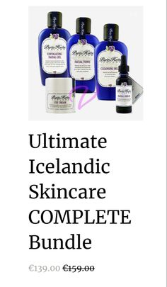 A Complete Icelandic Skincare Bundle. Safe for all sensitive skin types. Assists in the removal of acne, pimples, impurities and wrinkles. Minimize Pores, Facial Serum, Prevent Wrinkles, Dead Skin, Skincare Routine, Active Ingredient, Pimples