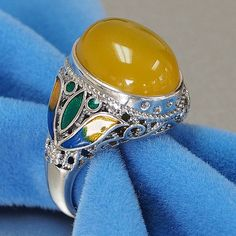 Sterling Silver Handmade Filigree with Enamel womens vintage yellow onyx ring