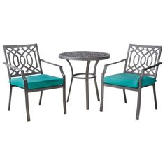 Invite style to your deck or patio with a Threshold Harper 3-Piece Patio Bistro Set. Perfect for smaller spaces, this patio set gives you a patio table and chairs with a timeless silhouette and elegant pattern. It's made of durable steel and aluminum and has comfy cushions that resist fading, stains and water. The cast aluminum patio furniture is ideal for intimate dining in the outdoors. Mix and match this outdoor patio furniture with other pieces from the Harper collection to create a w...