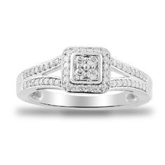 Women's 10k White Gold Engagement Ring (1/4 cttw I-J Color, I2-I3 Clarity), Size 7