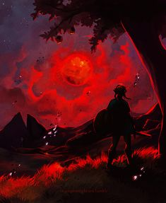 """cryingmanlytears: """" """"The Blood Moon Rises once again. Please be careful, Link"""" Since the first time I saw one, I really wanted to paint a blood moon. Its such a cool aesthetic in this game. This is just a quick one to get it out of my system. The Legend Of Zelda, Legend Of Zelda Breath, Wind Waker, Chaos Game, Cry Anime, Girls Anime, Manga Girl, Link Zelda, Blood Moon"""