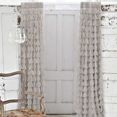 Couture Dreams Chichi Solid Petal Synthetic Rod Pocket Sheer Curtain Single Panel