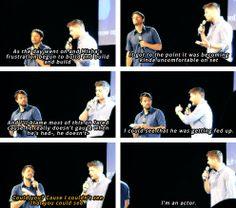 [gifset] Jensen and Misha on pranking him. #JibCon14 #Jensen #Misha