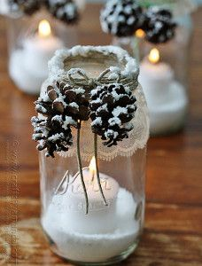 Frosted Pinecone Mason Jar Lights   AllFreeDIYWeddings.com
