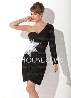 Cocktail Dresses - $106.99 - Sheath One-Shoulder Knee-Length Chiffon Charmeuse Cocktail Dress With Ruffle Beading (016008275) http://jjshouse.com/Sheath-One-Shoulder-Knee-Length-Chiffon-Charmeuse-Cocktail-Dress-With-Ruffle-Beading-016008275-g8275