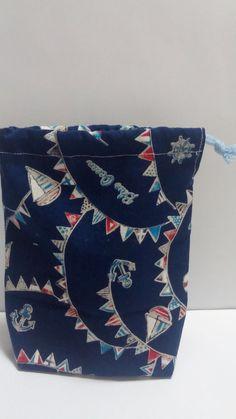 ハンドメイドマーケット minne(ミンネ)  青色マリン 海柄の手作り片側巾着コップ入れ収納