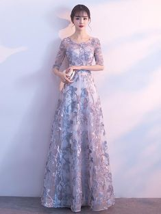 Lace Prom Dresses A Line Halter Floor-length Tulle Long Chic Prom Dress - Evening Gowns With Sleeves, Prom Dresses Long With Sleeves, Cute Dresses, Beautiful Dresses, Dress Long, Pageant Dresses For Teens, Event Dresses, Elegant Bridesmaid Dresses, Luxury Wedding Dress