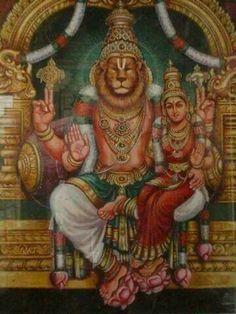 Sri Narasimha Murty with Lakshmi. The Manlion avatar of Lord Vishnu.
