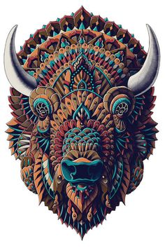Bison In Color I Canvas Wall Art by Bioworkz Bison Tattoo, Buffalo Tattoo, Buffalo Art, Desenho Tattoo, Art Challenge, Wildlife Art, Western Art, Native American Art, Mandala Art