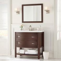 Home Decorators Collection Prescott 36 in. Vanity in Chestnut with Marble Vanity Top and Mirror in White-PT36P3COM-CN at The Home Depot