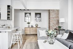 Scandinavian Living Room Designs I am not absolutely sure if you have noticed of a Scandinavian interior design. Cozy Studio Apartment, Studio Apartment Decorating, Apartment Interior, Rustic Apartment, Interior Livingroom, Apartment Design, Kitchen Interior, Living Room Kitchen, Living Room Decor
