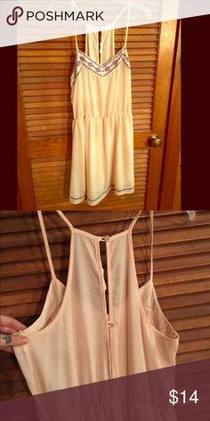 Pale beige dress Pale beige dress blue detail Dresses