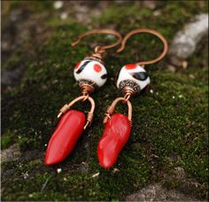 Extra long boho earrings / Tribal earrings / Ethnic earrings / Wire wrapped earrings with lampwork beads and red coral branches by ViolinDesign on Etsy