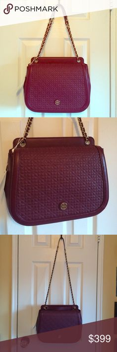 """Tory Burch Bryant quilted shoulder bag A Tory Burch bag in quilted leather. Slim back pocket. The magnetic top flap opens to a slim front pocket. Logo lined, 4-pocket interior with a middle zip compartment. Interwoven  chain shoulder strap  Lined Interior zip pocket, 2 interior slip pockets, 1 interior snap pocket Magnetic closure; Interwoven chain shoulder strap Strap 23""""  10.25""""(L) x 8.75""""(H) x 4""""(D) the most gorgeous bag you will own!! Color is Perfect to transition from winter to spring…"""