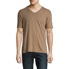 GoodLife Men's Solid V-Neck T-Shirt - Brown - Size L ($39) ❤ liked on Polyvore featuring men's fashion, men's clothing, men's shirts, men's t-shirts, brown, mens brown t shirt, mens brown shirt, men's v neck t shirts, mens v neck shirts and mens vneck shirts