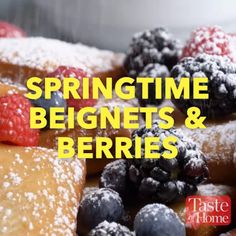 nice Springtime Beignets & Berries Recipe Read More by Mexican Food Recipes, Appetizer Recipes, Sweet Recipes, Dessert Recipes, Cooking Recipes, Hotdish Recipes, Haitian Recipes, Cooking Pork, Healthy Recipes