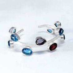 NATURAL BLUE TOPAZ & MIX  GEMSTONE 925 SILVER OVERLAY BANGLE FOR UNISEX JEWELRY #Handmade #BEAUTY