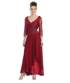 Cute burgundy long sleeve v-neck plus size designer dresses for Mother of the bride and mother of the groom 2014