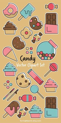 Candy vector clipart commercial use - sweets clip art set - candy Candy Theme, Candy Art, Logo Bonbons, Candy Clipart, Candy Drawing, 40th Birthday Gifts, Birthday Crafts, Mom Birthday, Challenges