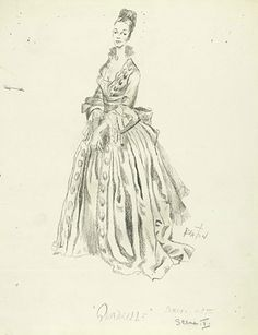 Quadrille Phoenix Theatre, 1952 Costumes designed by Cecil Beaton Cecil Beaton (1904-1980) Reproduction of costume design for Quadrille, with sketch on verso, 1952 Lynn Fontanne as Serena (The Marchioness of Heronden)