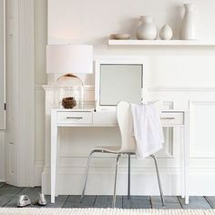 white study space: I love the lamp that looks like a bell jar with a nest inside.