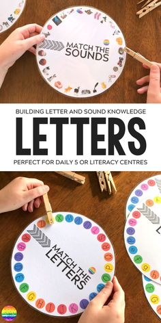 Letter and Initial Sound Printable Wheels - just print and add clothe pegs! Perfect for building up fine motor skills while learning upper and lowercase letters and beginning letter sounds Letter Activities, Toddler Learning Activities, Literacy Activities, Kids Learning, Upper And Lowercase Letters, Alphabet Letters, Alphabet Games, Spanish Alphabet, Letter Games
