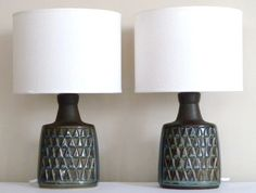 Pair of BLUE SERIES table lamps designed by Einar Johansen for Søholm Pottery, Denmark. 1960s