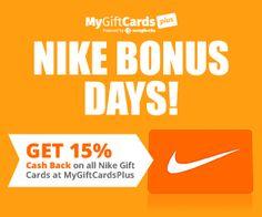 Get 15% Cash back on Nike Gift Cards! #cashback #giftcards #nike #deals #discounts