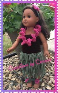 "Crochet DOLL CLOTHES for 18 inch American doll**18""17/76-ALOHA SET | eBay"