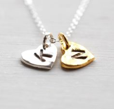 188 Two Heart Monogram Necklace / Initial by LustreModernJewelry, $34.00 @Morgan Fletcher
