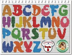 Bright and cheerful alphabet, upper case Cross Stitch Alphabet Patterns, Cross Stitch Letters, Cross Stitch Boards, Bead Loom Patterns, Cross Stitch Designs, Beading Patterns, Stitch Patterns, Cross Stitching, Cross Stitch Embroidery