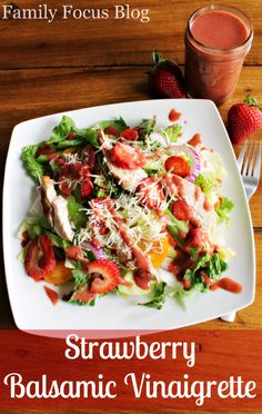 Strawberry Balsamic Vinaigrette Recipe- easy and delicious homemade salad dressing recipe- sweet and tangy! #summersalads